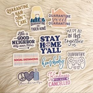 11 pc Social Distancing themed stickers
